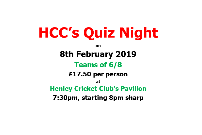 Henley Cricket  Club Quiz Night - 8th February 2019